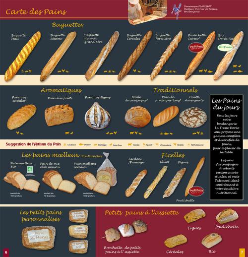 Petit inventaire des pains réalisé par Dominique Planchot MOF Boulanger, à Tresse Dorée.